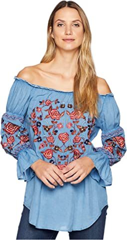 Bara Off the Shoulder Boho Embroidered Top
