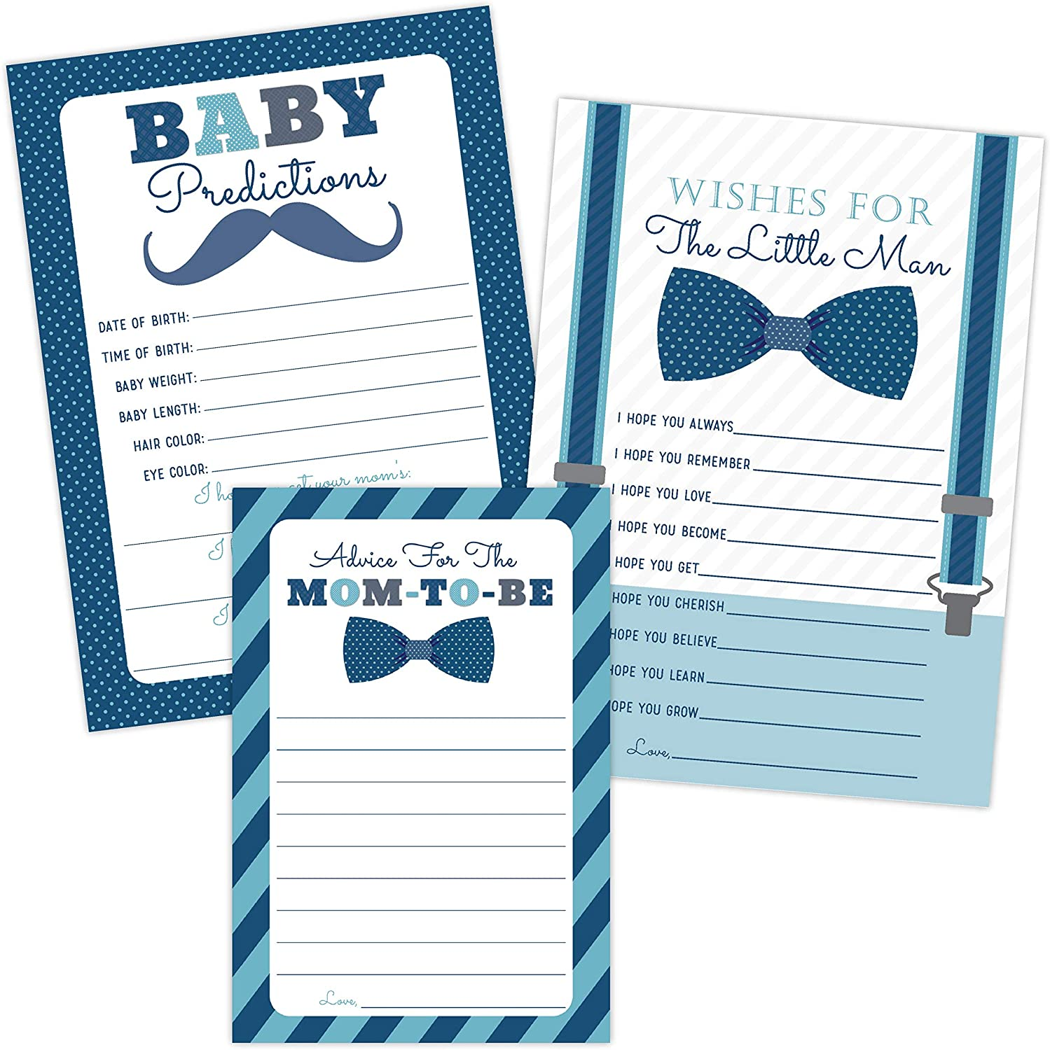 Little Man Baby Shower Games Predictions, Advice, and Wishes Card Set for Boy with Bow Tie Design