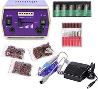 Electric Nail Drill- High Speed Up To 30000RPM E File Acrylic Gel Grinder with 6 Changeable Bits, 30pcs Metal Grinding Drill Bits and 3 Bags Sanding Bands, CE and RoHS Certified, a Joyfay Product