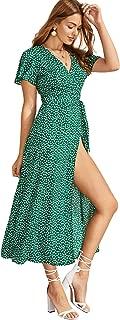 Women's Polka Dot Split Thigh Wrap Belted Short Sleeve Maxi Dress