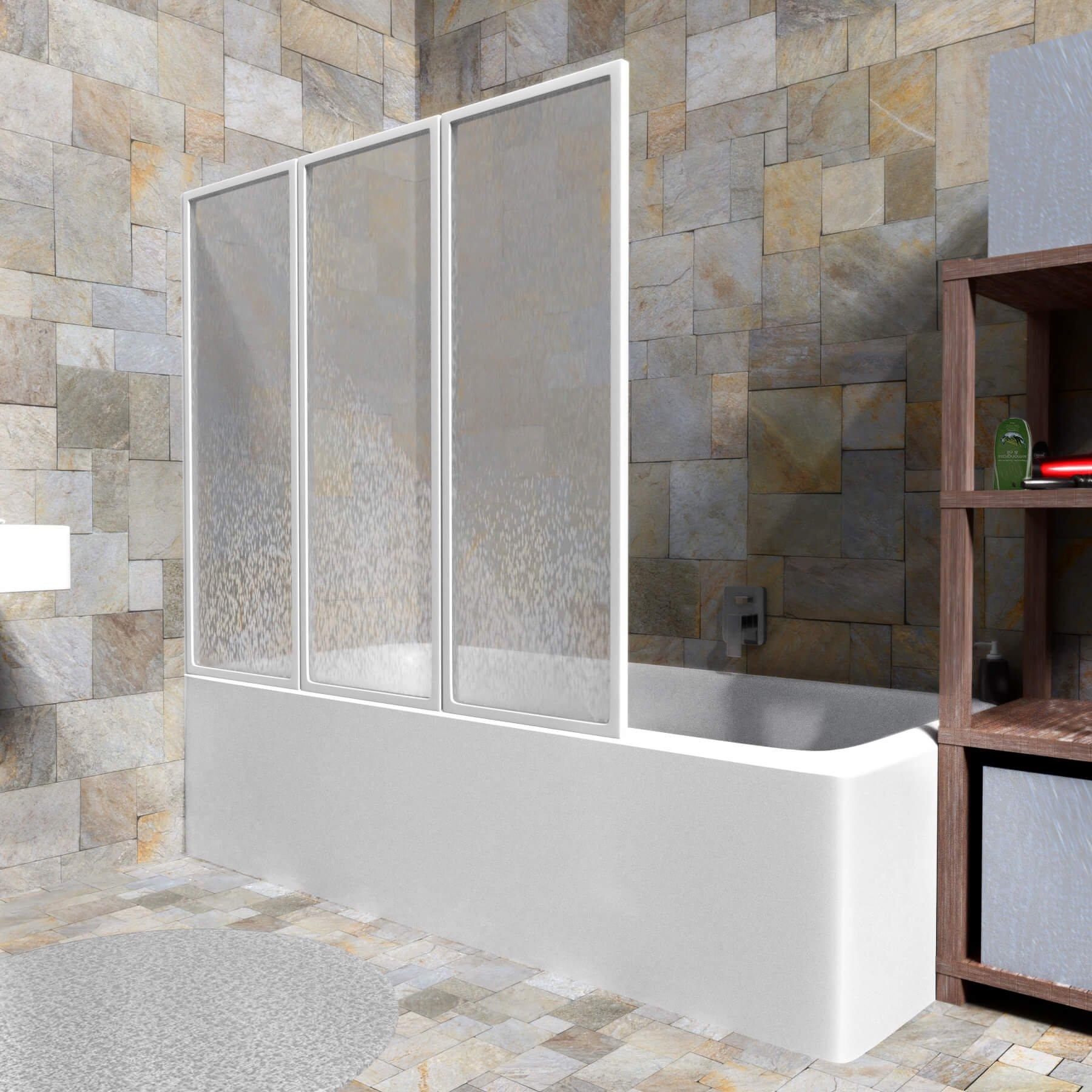 diverses tailles TecTake Pare-baignoire portes coulissantes /à 3 panneaux blanc 120x117cm   No. 402750