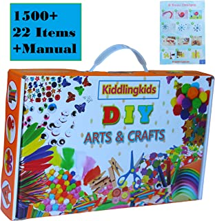 Arts and Crafts Supplies Kit for Kids - DIY Craft Supply Toys Set for Toddler Boys and Girls Ages 4-12 Years Old Contains ...