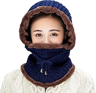 Women Balaclavas Hat Beanie Snow Ski Winter Knit Fleeced Skull Cap Neck Scarf Hiking Sports Cold Weather