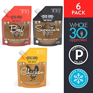 Osso Good Bone Broth Variety Pack, Classic Flavors, High in Protein & Collagen, 6 Count (Packaging May Vary)