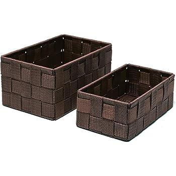 Braun Badkorb Polypropylen WENKO 22199100 Aufbewahrungskorb mit Deckel Adria Braun 19 x 10 x 14 cm