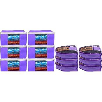 Heart Home Non Woven 6 Pieces Saree Cover/Cloth Wardrobe Organizer and 6 Pieces Blouse Cover Combo Set (Purple) HEART3171