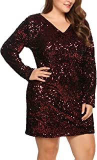 IN'VOLAND Womens Sequin Dress Plus Size V Neck Party Cocktail Sparkle Glitter Evening Stretchy Mini Bodycon Dresses