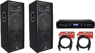 """(2) JBL JRX225 Dual 15"""" 4000 Watt DJ/PA Speakers Monitors+Crown Amplifier+Cables"""