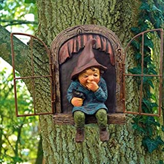 Garden Gnome Statue Elf Fairy Tree Peeker My Little Friend Gnome Elf Statue Naughty Garden Figurines Elf Out The Door Tree...