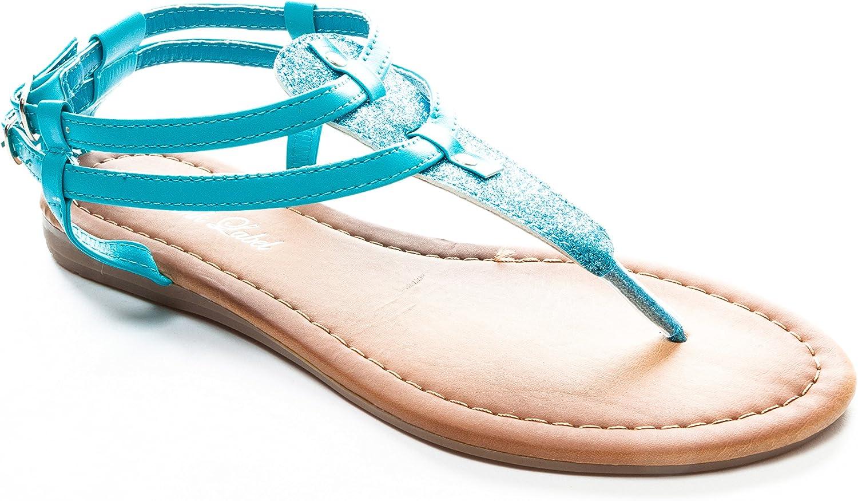 Pink Label Women's Strappy Gladiator Glitter Flat Sandal