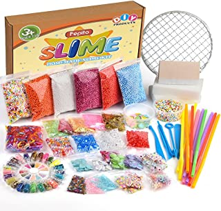 FEPITO 84 Pack Slime Supplies Kit Including Foam Balls, Fishbowl Beads, Net, Shell, Sponge Cube, Slices, Rubber Band, Imitation Gold Leaf, Sugar Paper, Confetti (Contain No Slime)
