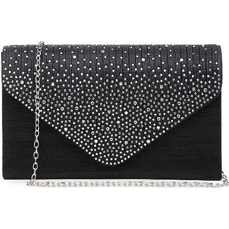 Women Evening Crystals Shoulder Bag Party Prom Wedding Clutch Envelope Handbag