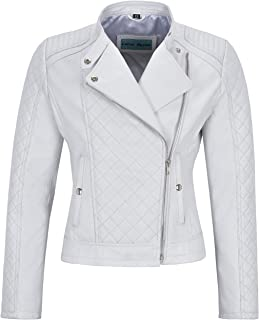 Smart Range Woman's Real Leather Jacket White Biker Style Fitted Diamond Shape Front Panel