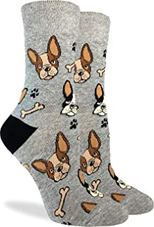 Women's French Bulldog Socks - Grey, Adult Shoe Size 5-9
