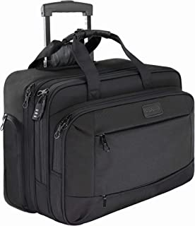 KROSER Rolling Laptop Briefcase Premium Laptop Bag Up to 17.3 Inch Laptop Water-Repellent Wheeled Computer Bag Overnight Roller Case with RFID Pockets for Business/Travel/School/Men/Women-Black