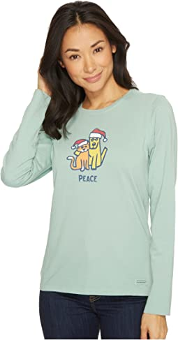 Life is Good - Peace Cat Dog Long Sleeve Crusher Tee