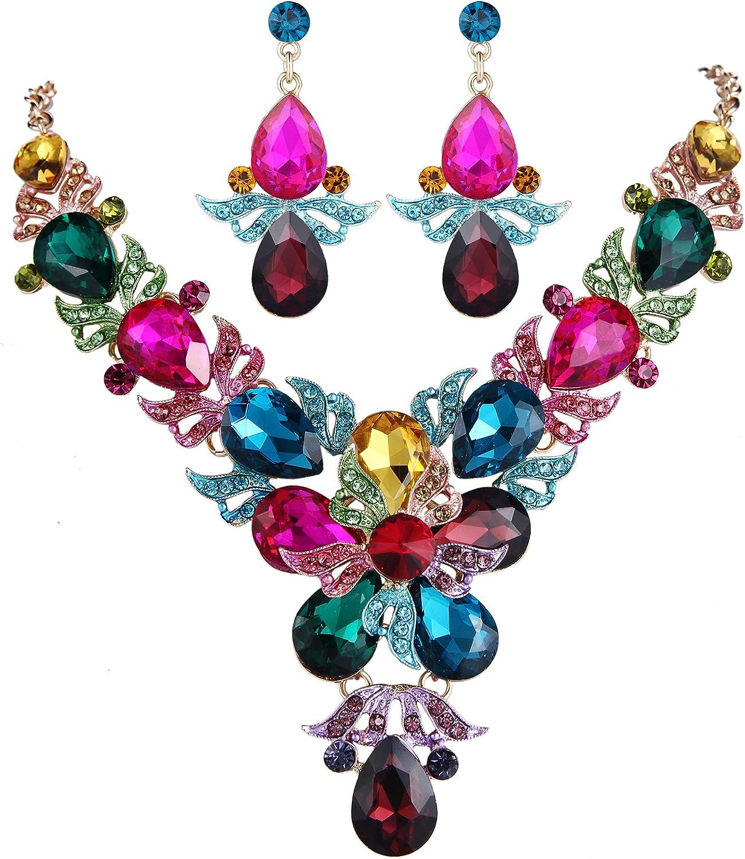 EVER FAITH Rhinestone Crystal Elegant Wedding Flower Leaf Teardrop Necklace Earring Set