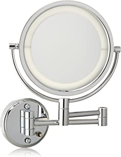 Jerdon HL88CLD 8.5-Inch LED Lighted Wall Mount Direct Wire Makeup Mirror with 8x Magnification, Chrome Finish