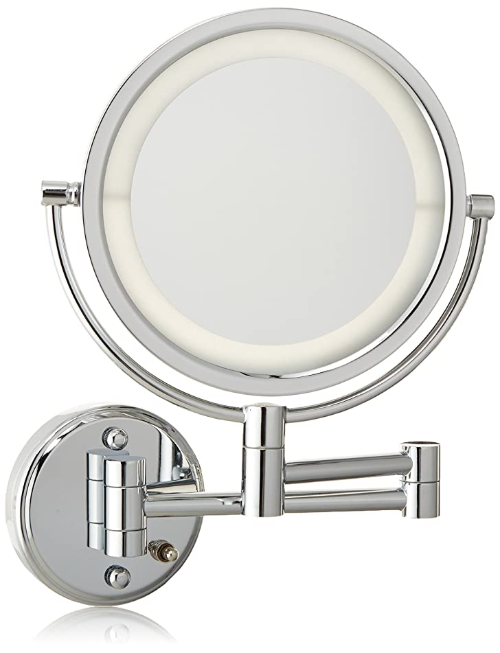 Jerdon HL88CLD 8.5-Inch LED Lighted Direct Wire Wall Mount Makeup Mirror with 8x Magnification, Chrome Finish