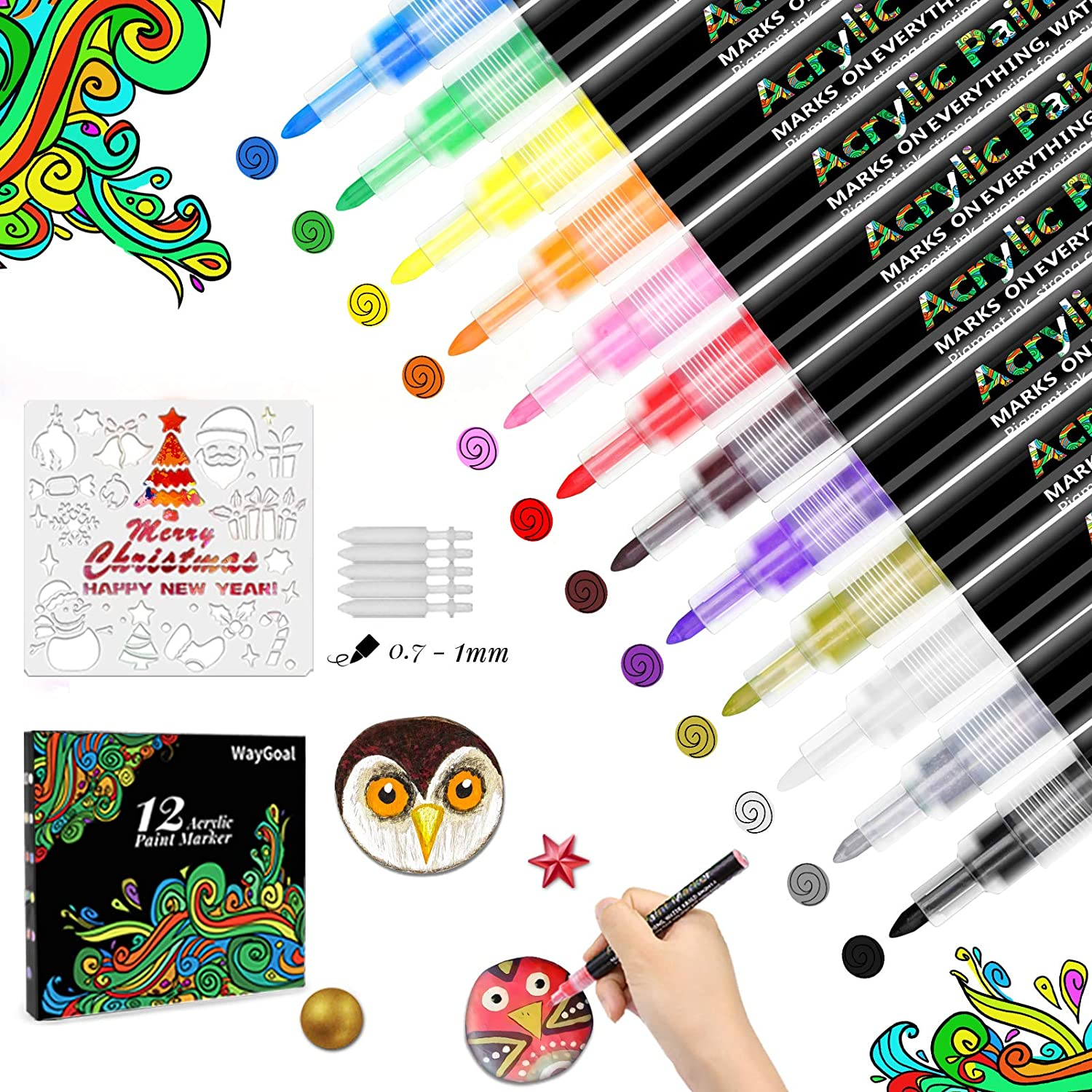 WayGoal Acrylic Paint Pens Very popular Marker Set of 12 With Special price Christm Colors