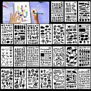 HOWAF Lot de 24 Pochoir Bullet Journal réutilisables Pochoir à Dessin pochoirs Peinture pour Enfant, Sculpture, Chiffres p...