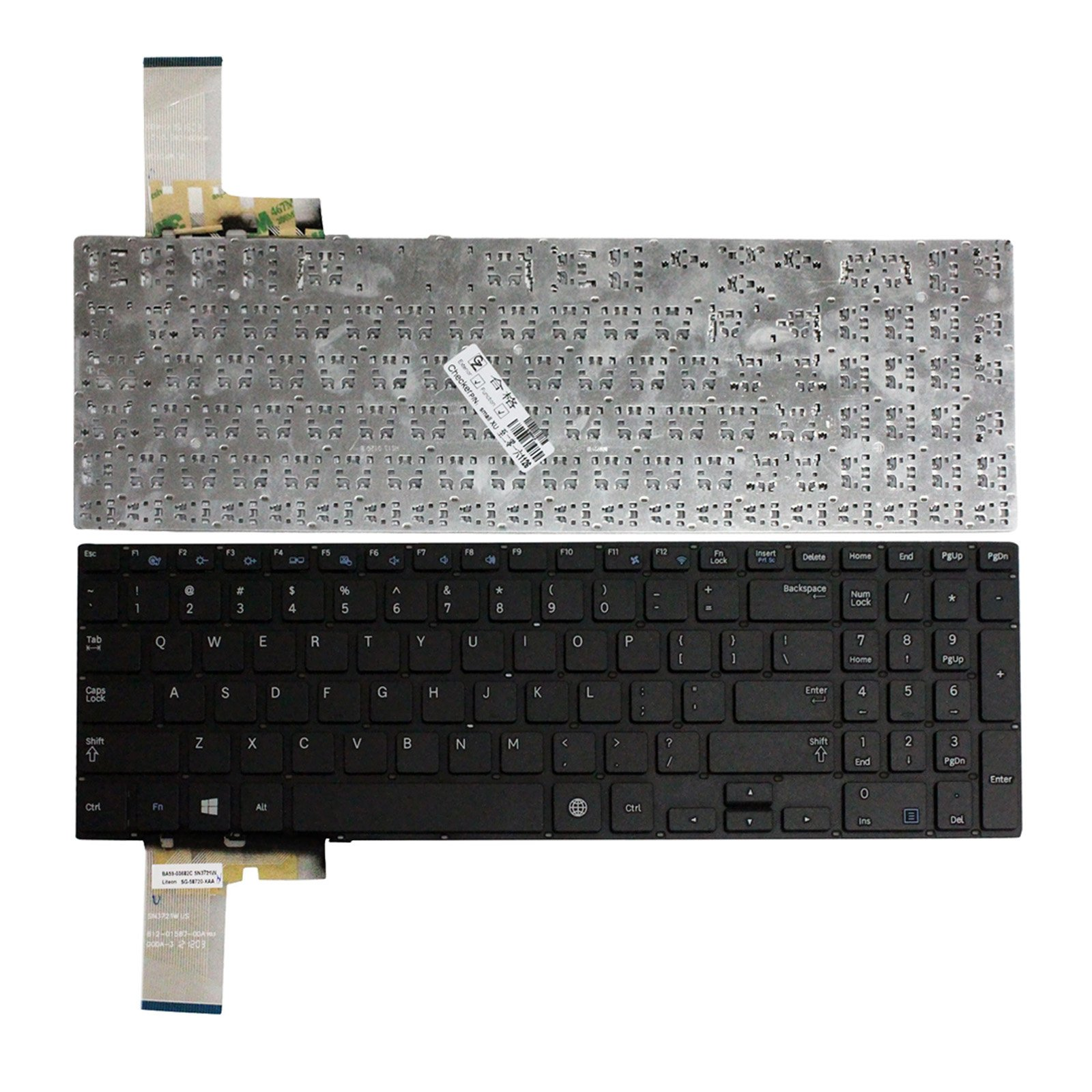 Zahara Laptop US Keyboard Withot Frame Black Replacement for Samsung ATIV Book 4 NP470R5E NP370R5E