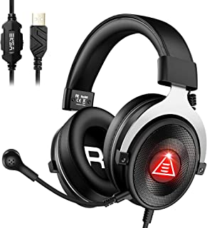 EKSA USB Gaming Headset Headphones, E900 Plus ENC 7.1 Virtual Surround Sound Wired Overear PC Computer Headset Headphone w...