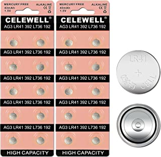 【5-YEAR WARRANTY】CELEWELL 20 Pack LR41 AG3 192 392 Battery Equivalent Coin Button Cell