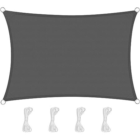 Rettangolare 2/×2m Antracite Protezione UV per Terrazza Campeggio Giardino Esterno PES LOVE STORY Tenda da Vela Parasole Impermeabile