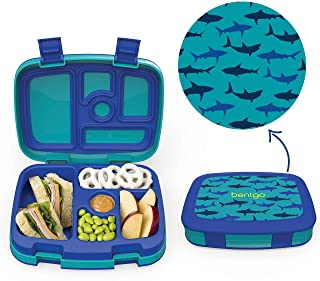 Bentgo Kids Prints (Sharks) - Leak-Proof, 5-Compartment Bento-Style Kids Lunch Box - Ideal Portion Sizes for Ages 3 to 7 -...