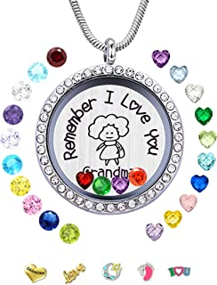 Remember I Love You Grandma Memory Living Floating Lockets 24PCS Birthstones, Women DIY Charms Pendant Necklace Granny, Nice Gift Box