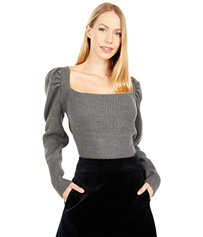 WAYF Leland Tie Back Puff Sleeve Top (Dark Grey) Women