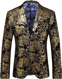 c300d5c3af4a MY'S Men's Luxury Casual Dress Floral Suit Notched Lapel Slim Fit Stylish  Blazer