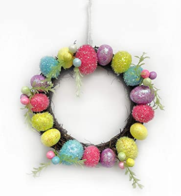 Happy Packs Easter Egg Spring Wreath for Front Door with Colorful Glitter Foam Eggs, Artificial Spring Floral Greens in Soft Pastel Colors or Tinsel Bright Pastel (Tinsel Pastel)