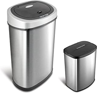 NINESTARS CB-DZT-50-9/8-1 Automatic Touchless Infrared Motion Sensor Trash Can Combo Set, 13 Gal 50L & 2 Gal 8L, Stainless...