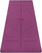 Ewedoos Eco Friendly Yoga Mat with Alignment Lines, TPE Yoga Mat Non Slip Textured Surfaces ¼-Inch Thick High Density Padd...