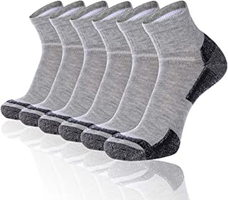 FLYRUN Men's Ankle Quarter Socks Men Comfort Cushion Moisture Wicking Work Sock 6 Pack