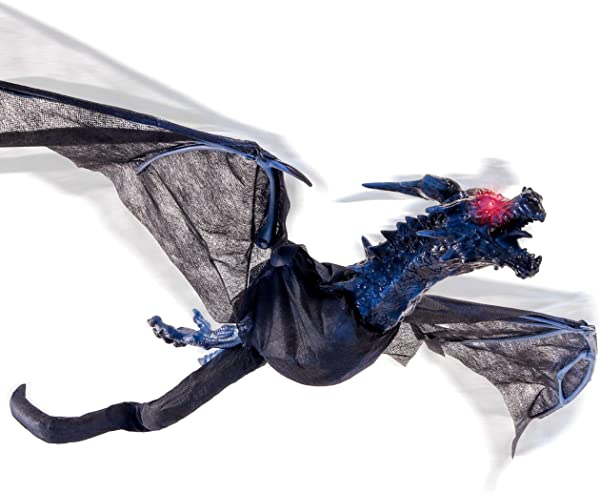 Halloween Haunters Animated Hanging Flying Dragon With 4 Foot Flapping Wings And Moving Head Prop Decoration Flashing Red LED Eyes Sounds Howls Haunted House Graveyard Entryway Party Display