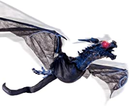 Halloween Haunters Animated Hanging Flying Dragon with 4 Foot Flapping Wings and Moving Head Prop Decoration - Flashing Red LED Eyes, Sounds, Howls - Haunted House Graveyard, Entryway Party Display
