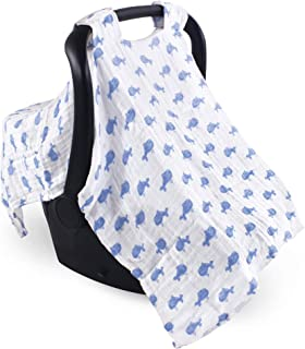 Hudson Baby Unisex Baby Muslin Car Seat Canopy, Blue Whale, One Size