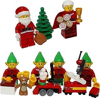 LEGO Christmas Santa Claus, Mrs Claus, 4 Elves, Tree, Elf Gift Presents - Custom Xmas Minifigure