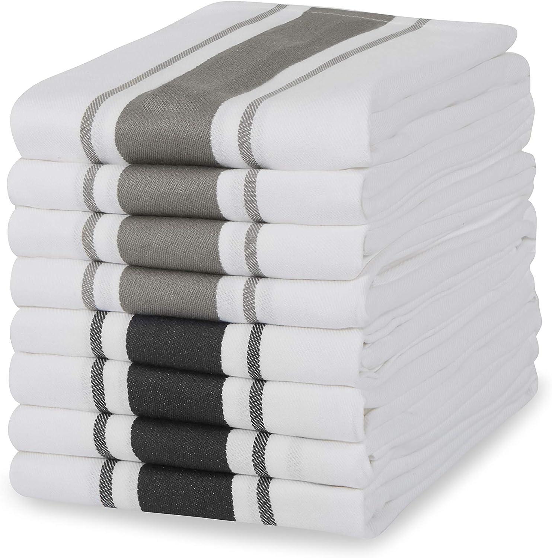 Set di 5 Sticky Toffee Asciugamani Doppio Strato 100/% Cotone Bicchiere da Bar Ristorante Assorbente Strisce Rosse 50 x 70 cm