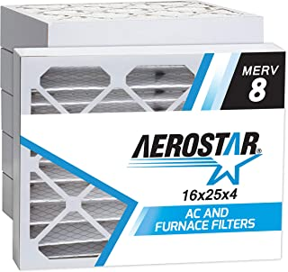 Aerostar 16x25x4 MERV 8 Pleated Air Filter, Made in the USA 15 1/2