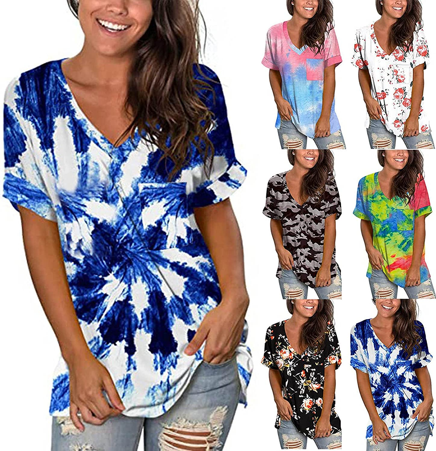 AODONG Womens Summer Tops, Women Short Sleeve T Shirts Loose fit Floral Print Basic Tunic Tops Graphic Tees with Pocket