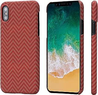 「PITAKA」Magcase iPhone X対応 ケース「PITAKA」Magcase 軍用防弾チョッキ素材アラミド繊維 超薄(0.65mm) 超軽量(14g) 超頑丈 衝撃吸収 高耐久性 ワイヤレス充電対応 (赤/オレンジM織)