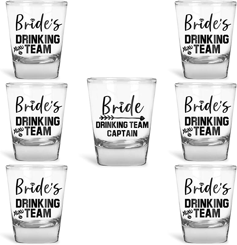 Bridesmaid Gifts Bride S Drinking Team Shot Glasses Pack Of 6 Bride S Drinking Team Member 1 Bride S Drinking Team Captain 1 5 Oz Bachelorette Party Favors