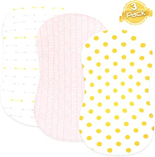 Bassinet Bed Sheets – Bassinet Fitted Sheets 3 Pack – 100% Jersey Knit Cotton Cradle Sheets – Bassinet Bedding for Standard Size Oval or Rectangular Bassinet Pads – Bassinet Sheet for Girl