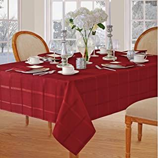 Newbridge Elegance Plaid Christmas Fabric Tablecloth, 100% Polyester, No Iron, Soil Resistant Holiday Tablecloth, 52 Inch x 52 Inch Square, Poinsettia Red
