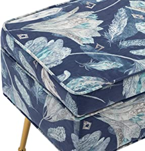 Mid Century Collapsible Storage Bedroom Benches, Rectangular Velvet Accent Entryway Bench with Gold Plating Metal Legs, Retro Floral Print (Blue Flower)