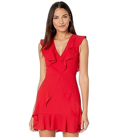 BCBGMAXAZRIA Short V-Neck Dress with Ruffle Detail (Burnt Red) Women